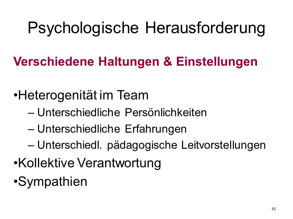 Psychologische Herausforderung Verschiedene Haltungen & Einstellungen Heterogenität im Team –Unterschiedliche Persönlichkeiten –Unterschiedliche Erfahrungen –Unterschiedl.