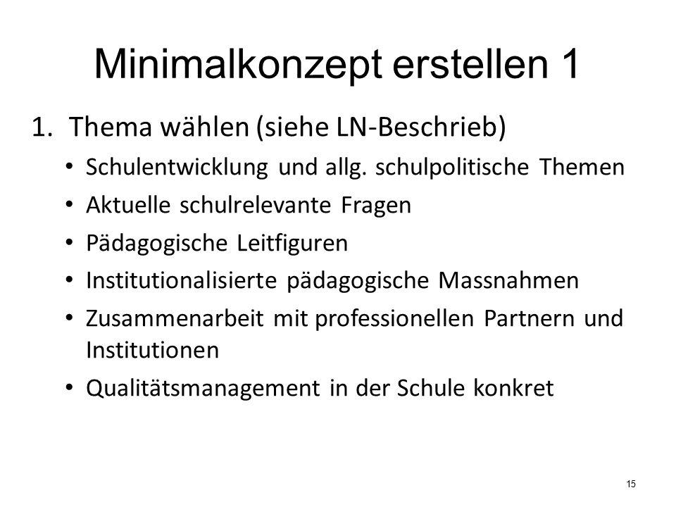 Minimalkonzept erstellen 1 1.Thema wählen (siehe LN-Beschrieb) Schulentwicklung und allg.