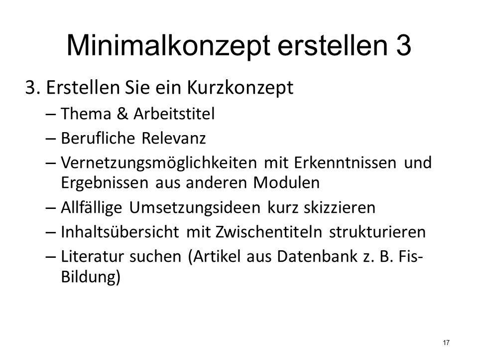Minimalkonzept erstellen 3 3.