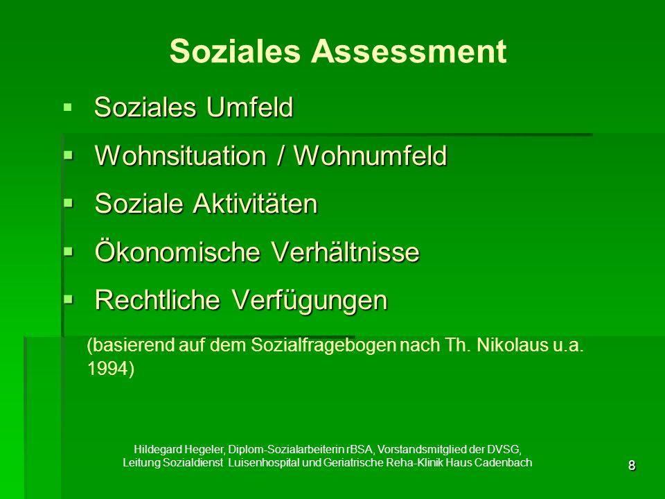 8 Soziales Assessment  Soziales Umfeld  Wohnsituation / Wohnumfeld  Soziale Aktivitäten  Ökonomische Verhältnisse  Rechtliche Verfügungen (basierend auf dem Sozialfragebogen nach Th.