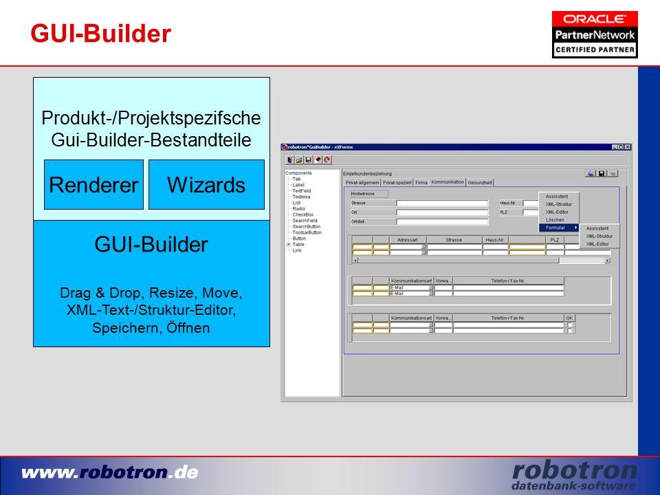 Produkt-/Projektspezifsche Gui-Builder-Bestandteile GUI-Builder Drag & Drop, Resize, Move, XML-Text-/Struktur-Editor, Speichern, Öffnen RendererWizard