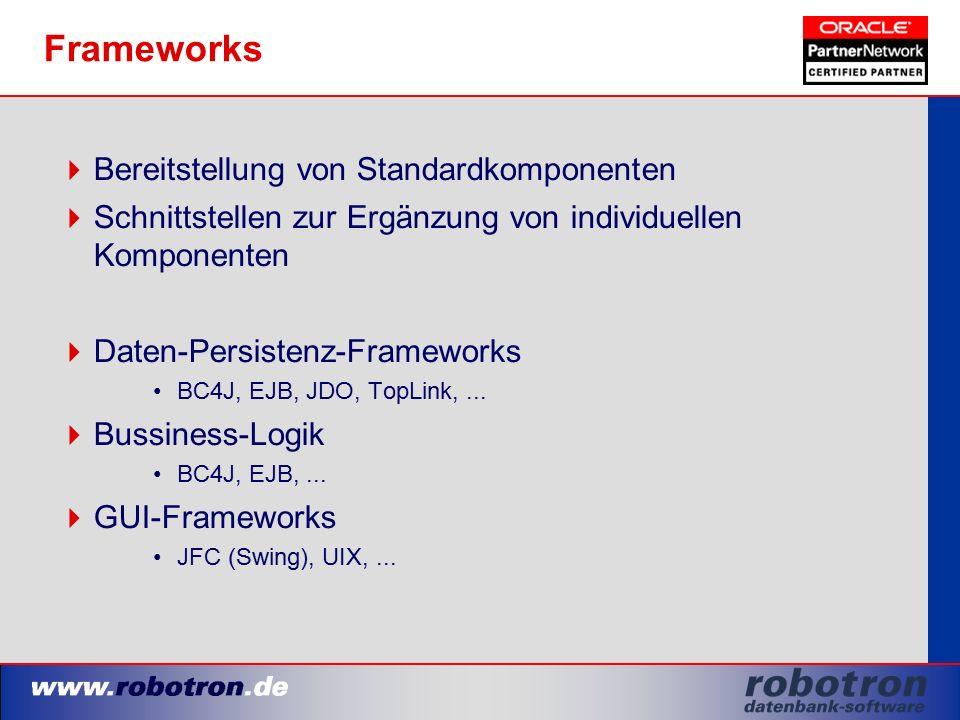 Frameworks  Bereitstellung von Standardkomponenten  Schnittstellen zur Ergänzung von individuellen Komponenten  Daten-Persistenz-Frameworks BC4J, EJB, JDO, TopLink,...