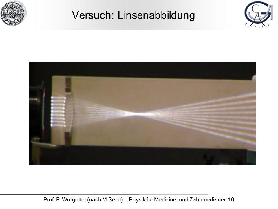 Prof. F. Wörgötter (nach M.Seibt) -- Physik für Mediziner und Zahnmediziner 10 Versuch: Linsenabbildung