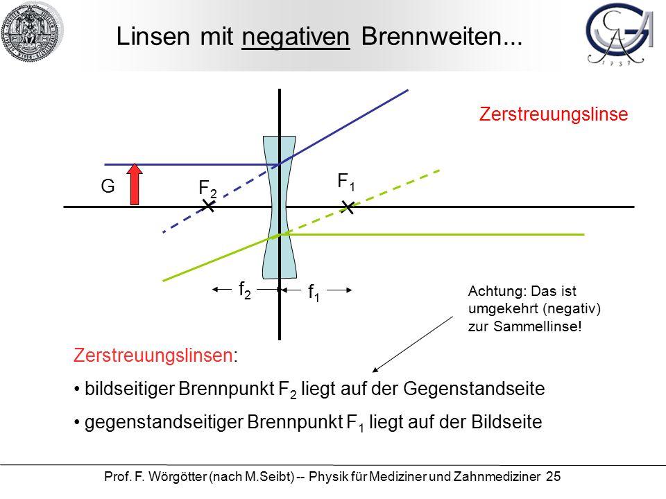 Prof. F. Wörgötter (nach M.Seibt) -- Physik für Mediziner und Zahnmediziner 25 Linsen mit negativen Brennweiten... f2f2 f1f1 Zerstreuungslinsen: bilds