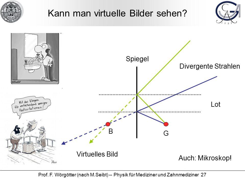 Prof. F. Wörgötter (nach M.Seibt) -- Physik für Mediziner und Zahnmediziner 27 Kann man virtuelle Bilder sehen? Lot Spiegel Divergente Strahlen B Virt