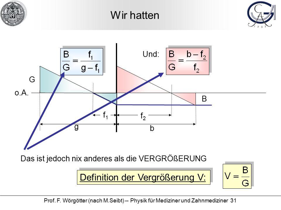 Prof.F. Wörgötter (nach M.Seibt) -- Physik für Mediziner und Zahnmediziner 31 Wir hatten o.A.