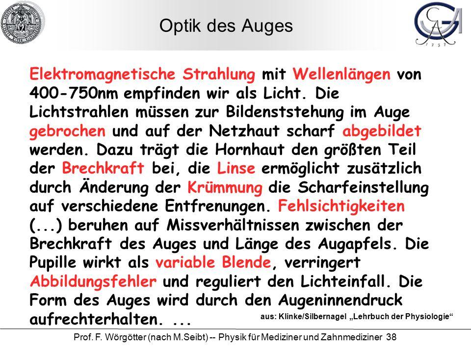 Prof. F. Wörgötter (nach M.Seibt) -- Physik für Mediziner und Zahnmediziner 38 Optik des Auges Elektromagnetische Strahlung mit Wellenlängen von 400-7