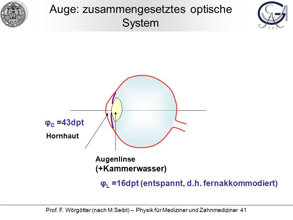 Prof. F. Wörgötter (nach M.Seibt) -- Physik für Mediziner und Zahnmediziner 41 Auge: zusammengesetztes optische System Augenlinse (+Kammerwasser) Horn