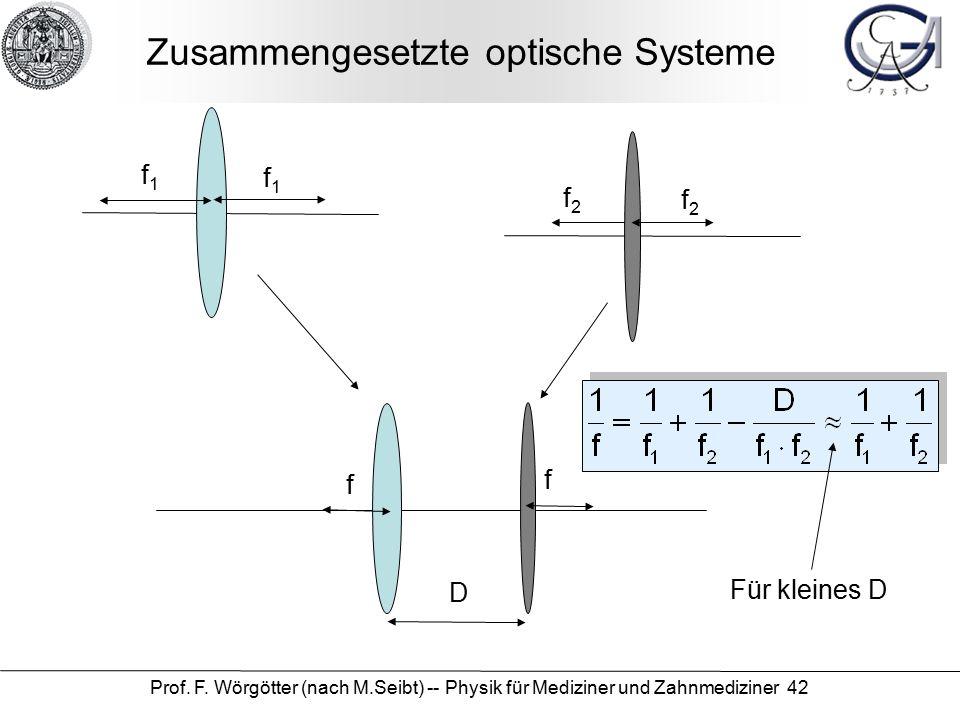 Prof. F. Wörgötter (nach M.Seibt) -- Physik für Mediziner und Zahnmediziner 42 Zusammengesetzte optische Systeme D f1f1 f1f1 f2f2 f f f2f2 Für kleines