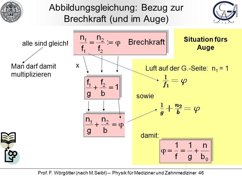 Prof. F. Wörgötter (nach M.Seibt) -- Physik für Mediziner und Zahnmediziner 46 Situation fürs Auge Abbildungsgleichung: Bezug zur Brechkraft (und im A