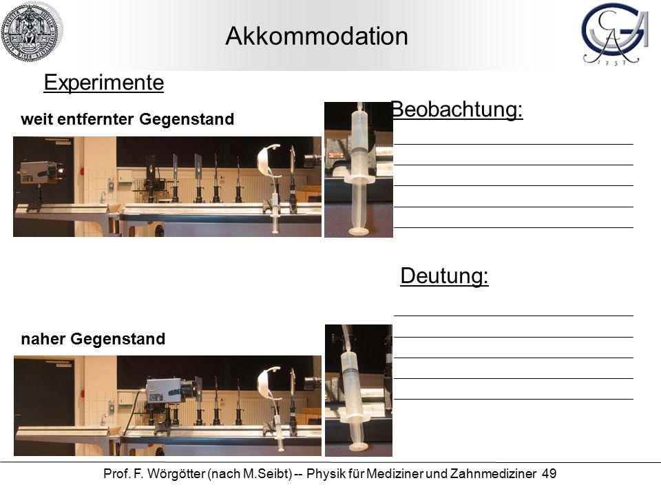 Prof. F. Wörgötter (nach M.Seibt) -- Physik für Mediziner und Zahnmediziner 49 Akkommodation Beobachtung: Deutung: Experimente weit entfernter Gegenst