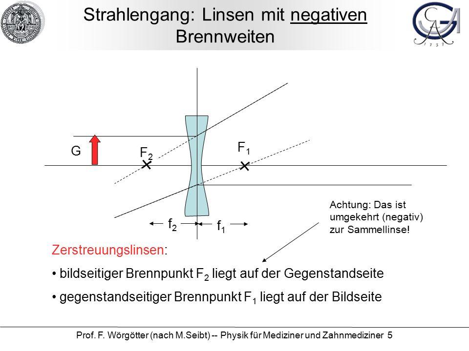 Prof. F. Wörgötter (nach M.Seibt) -- Physik für Mediziner und Zahnmediziner 5 Strahlengang: Linsen mit negativen Brennweiten f2f2 f1f1 Zerstreuungslin