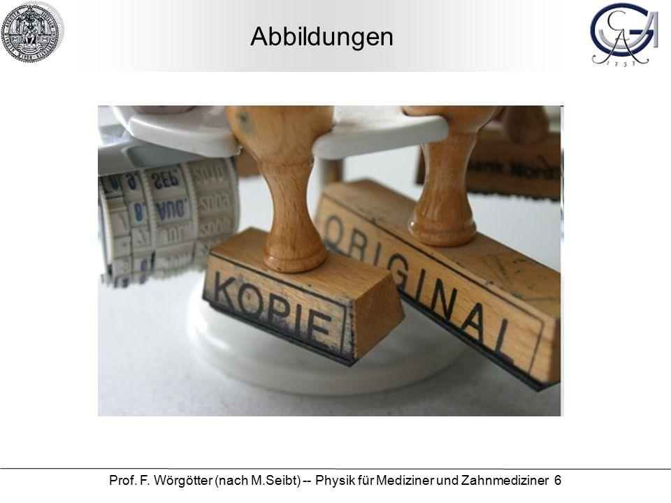 Prof. F. Wörgötter (nach M.Seibt) -- Physik für Mediziner und Zahnmediziner 6 Abbildungen