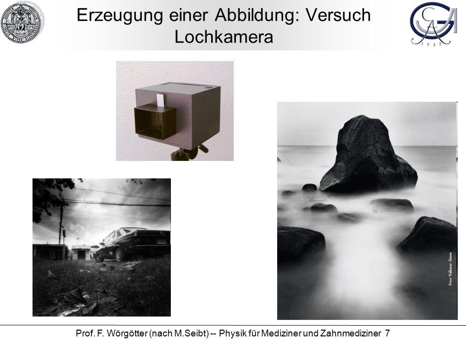Prof. F. Wörgötter (nach M.Seibt) -- Physik für Mediziner und Zahnmediziner 7 Erzeugung einer Abbildung: Versuch Lochkamera
