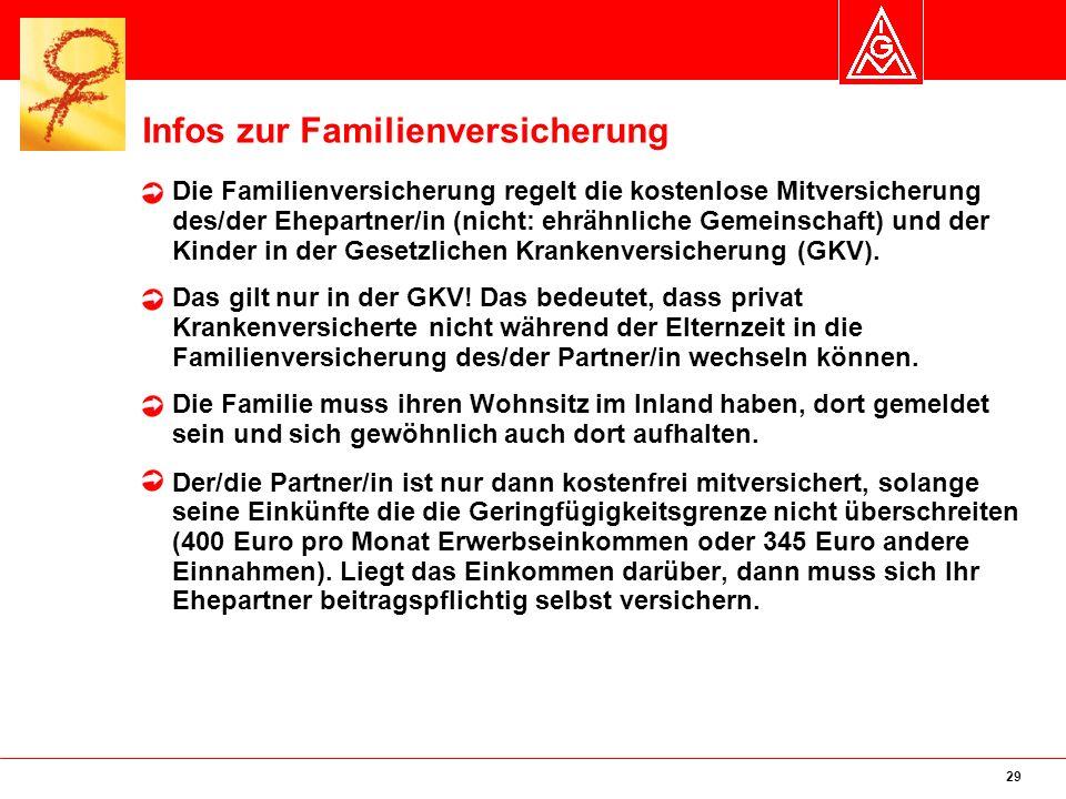 29 Infos zur Familienversicherung Die Familienversicherung regelt die kostenlose Mitversicherung des/der Ehepartner/in (nicht: ehrähnliche Gemeinschaft) und der Kinder in der Gesetzlichen Krankenversicherung (GKV).