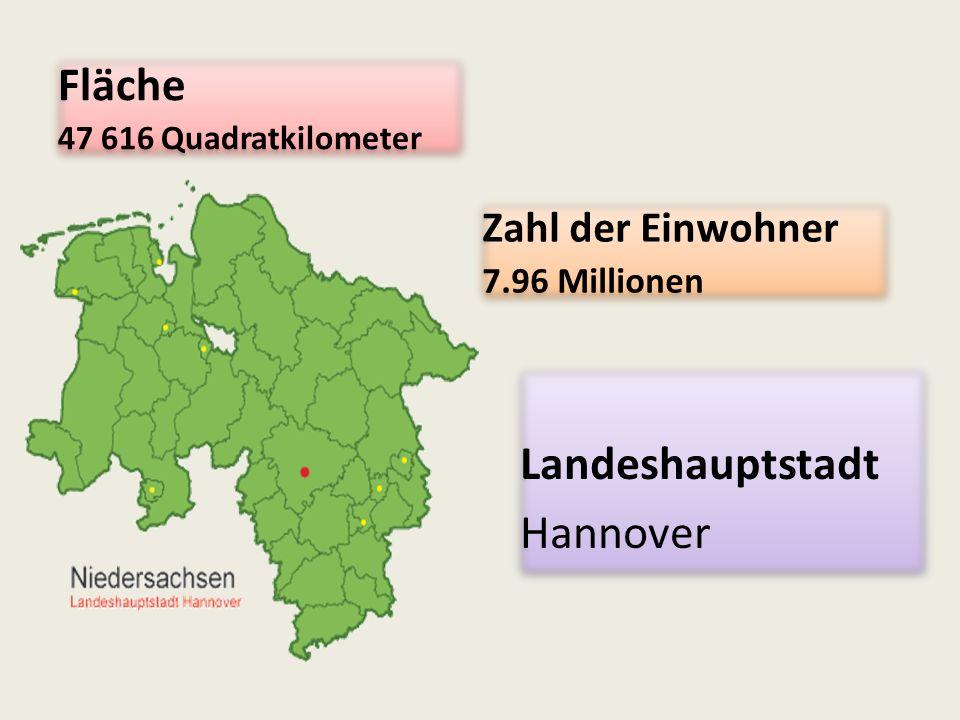 Fläche 47 616 Quadratkilometer Fläche 47 616 Quadratkilometer Zahl der Einwohner 7.96 Millionen Zahl der Einwohner 7.96 Millionen Landeshauptstadt Hannover Landeshauptstadt Hannover