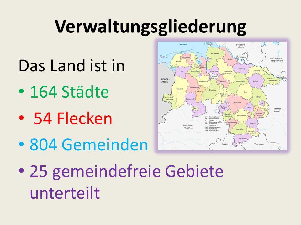 Verwaltungsgliederung Das Land ist in 164 Städte 54 Flecken 804 Gemeinden 25 gemeindefreie Gebiete unterteilt