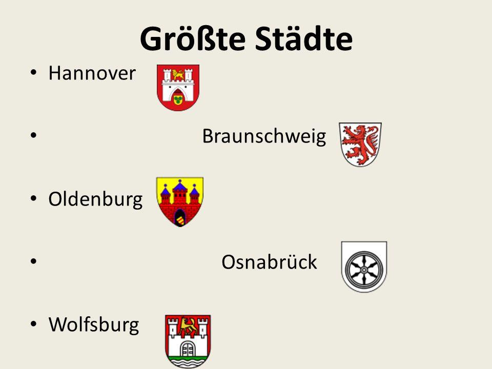 Größte Städte Hannover Braunschweig Oldenburg Osnabrück Wolfsburg