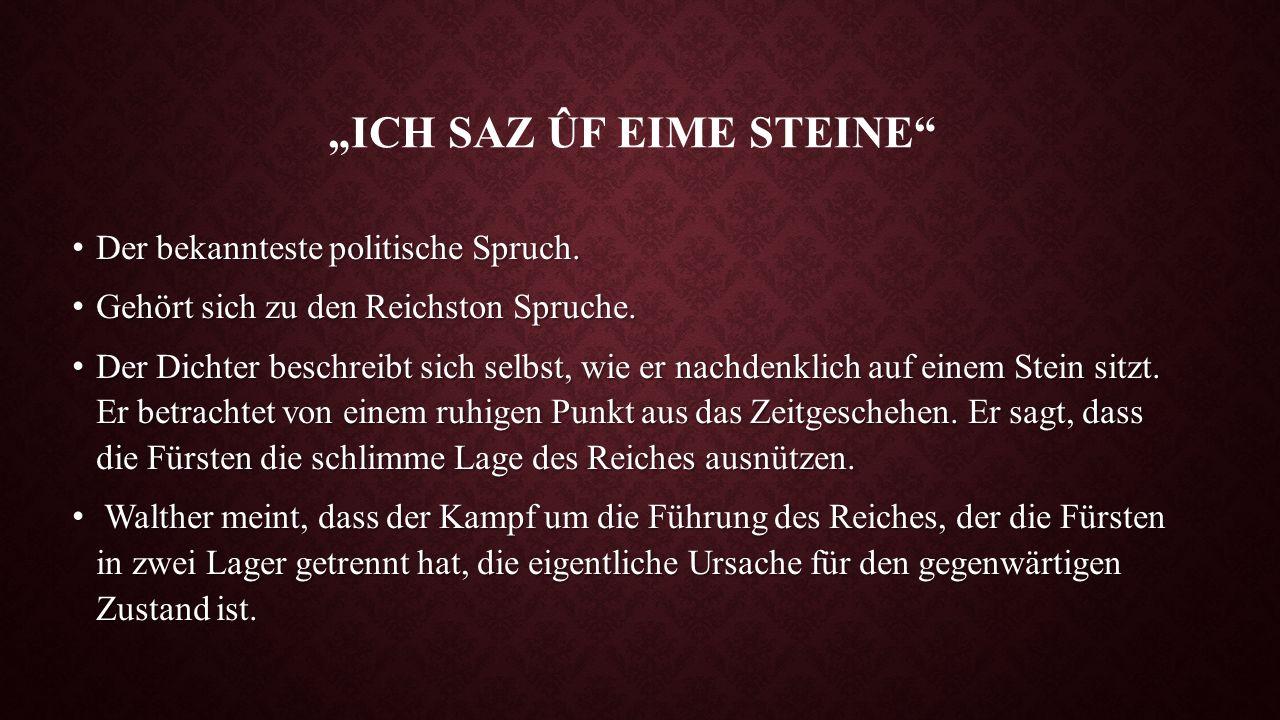 """""""ICH SAZ ÛF EIME STEINE"""" Der bekannteste politische Spruch. Der bekannteste politische Spruch. Gehört sich zu den Reichston Spruche. Gehört sich zu de"""