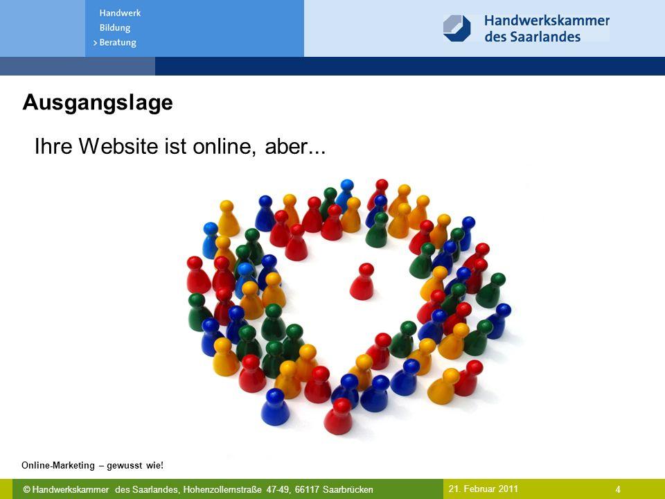 © Handwerkskammer des Saarlandes, Hohenzollernstraße 47-49, 66117 Saarbrücken Online-Marketing – gewusst wie! 4 21. Februar 2011 Ausgangslage Ihre Web