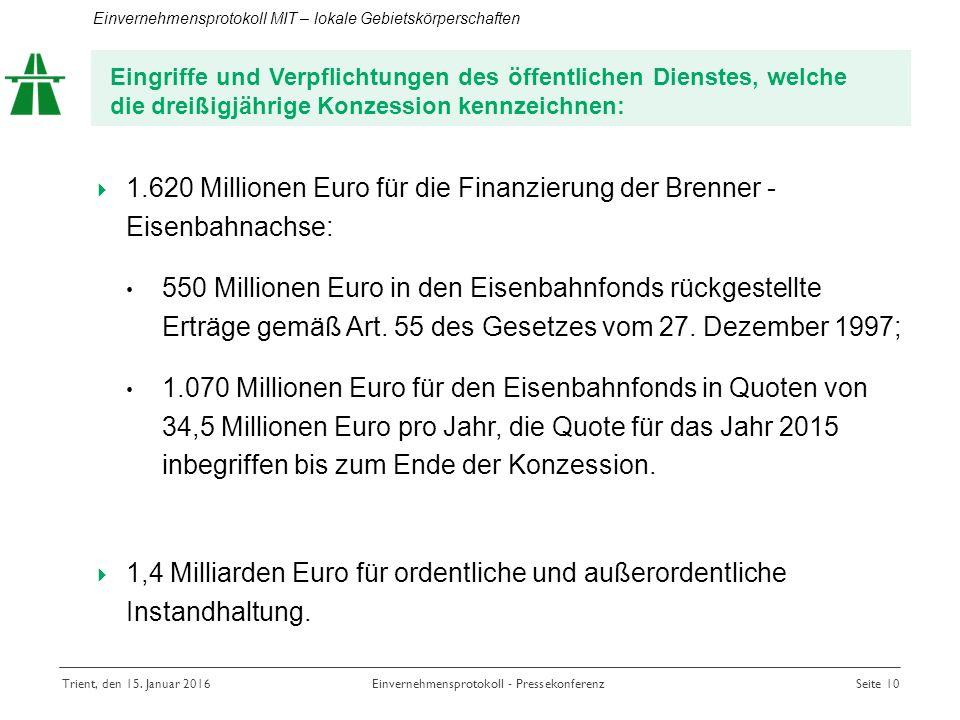  1.620 Millionen Euro für die Finanzierung der Brenner - Eisenbahnachse: 550 Millionen Euro in den Eisenbahnfonds rückgestellte Erträge gemäß Art.