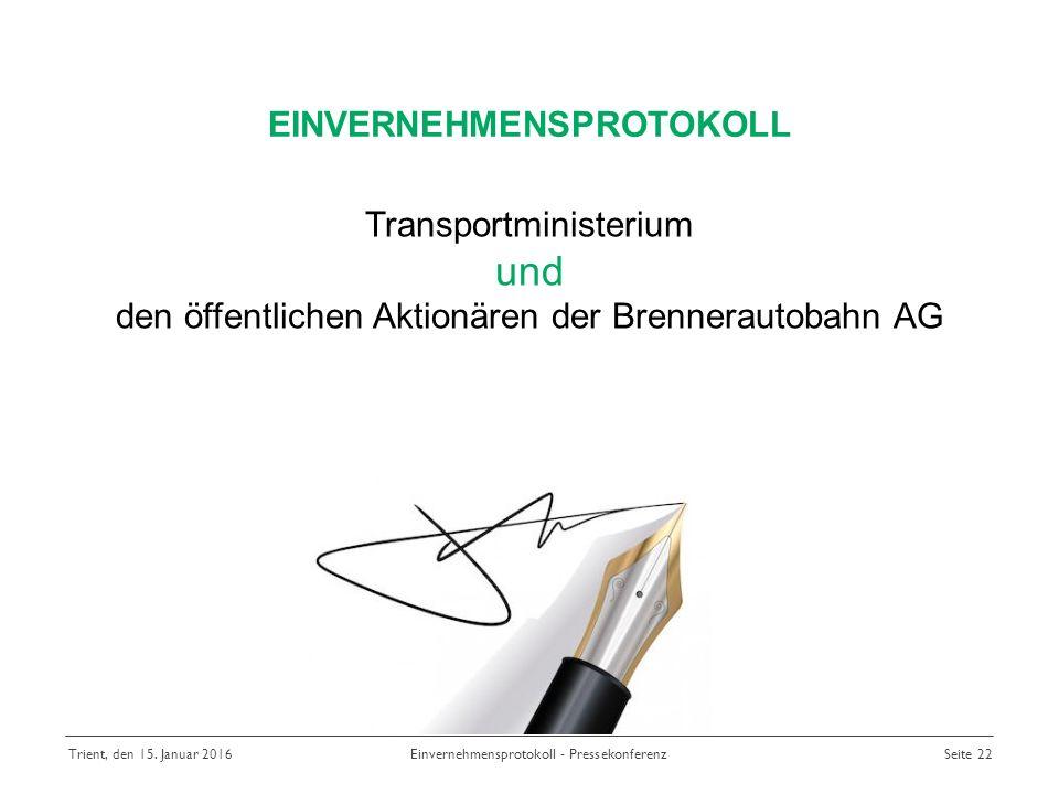 Transportministerium und den öffentlichen Aktionären der Brennerautobahn AG EINVERNEHMENSPROTOKOLL Trient, den 15.