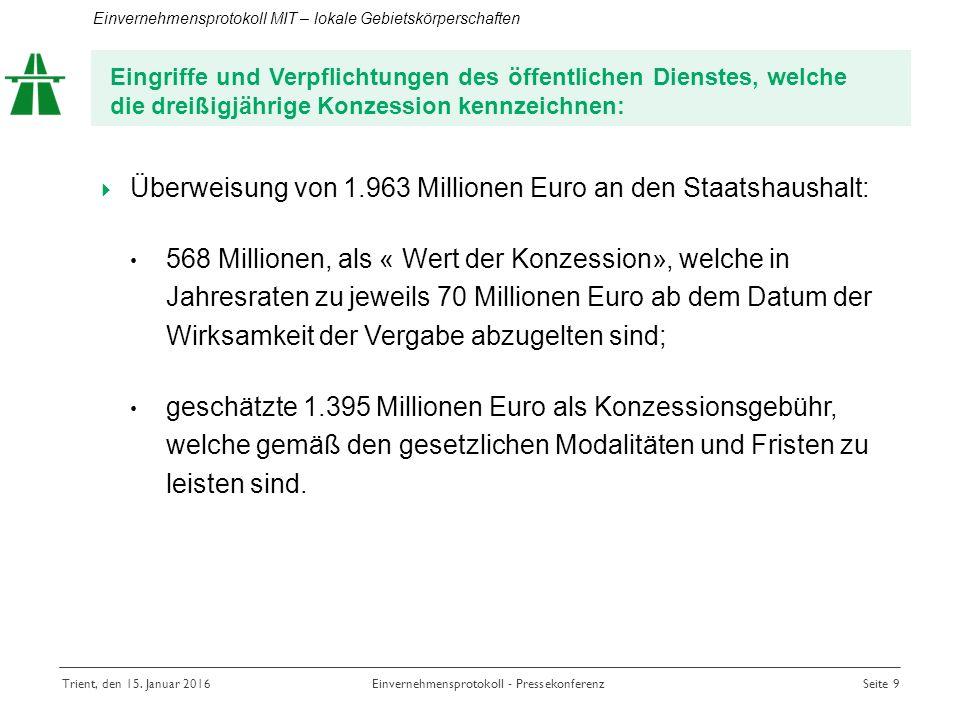  Überweisung von 1.963 Millionen Euro an den Staatshaushalt: 568 Millionen, als « Wert der Konzession», welche in Jahresraten zu jeweils 70 Millionen Euro ab dem Datum der Wirksamkeit der Vergabe abzugelten sind; geschätzte 1.395 Millionen Euro als Konzessionsgebühr, welche gemäß den gesetzlichen Modalitäten und Fristen zu leisten sind.