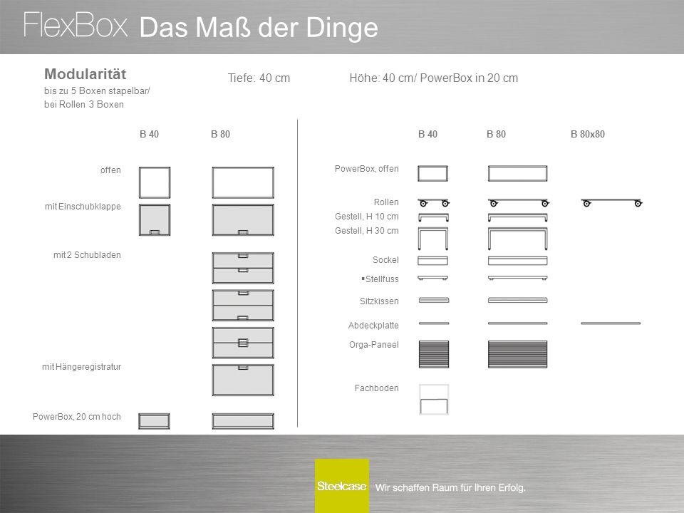 Das Maß der Dinge offen mit Einschubklappe mit 2 Schubladen mit Hängeregistratur PowerBox, 20 cm hoch B 40B 80 B 80x80 PowerBox, offen Rollen Gestell,