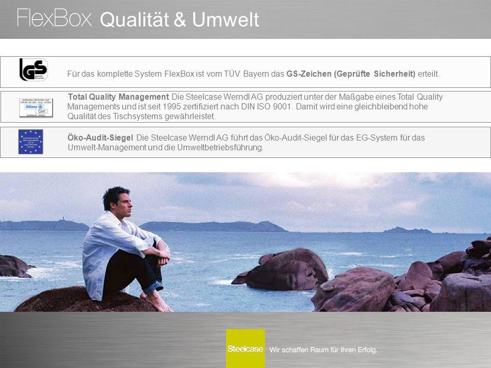 Für das komplette System FlexBox ist vom TÜV Bayern das GS-Zeichen (Geprüfte Sicherheit) erteilt. Öko-Audit-Siegel Die Steelcase Werndl AG führt das Ö