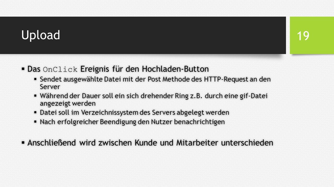 Upload  Das OnClick Ereignis für den Hochladen-Button  Sendet ausgewählte Datei mit der Post Methode des HTTP-Request an den Server  Während der Dauer soll ein sich drehender Ring z.B.