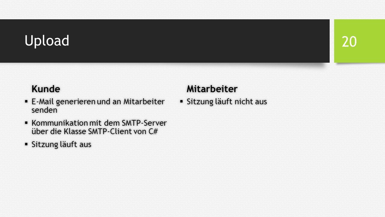 Upload Kunde  E-Mail generieren und an Mitarbeiter senden  Kommunikation mit dem SMTP-Server über die Klasse SMTP-Client von C#  Sitzung läuft aus Mitarbeiter  Sitzung läuft nicht aus 20