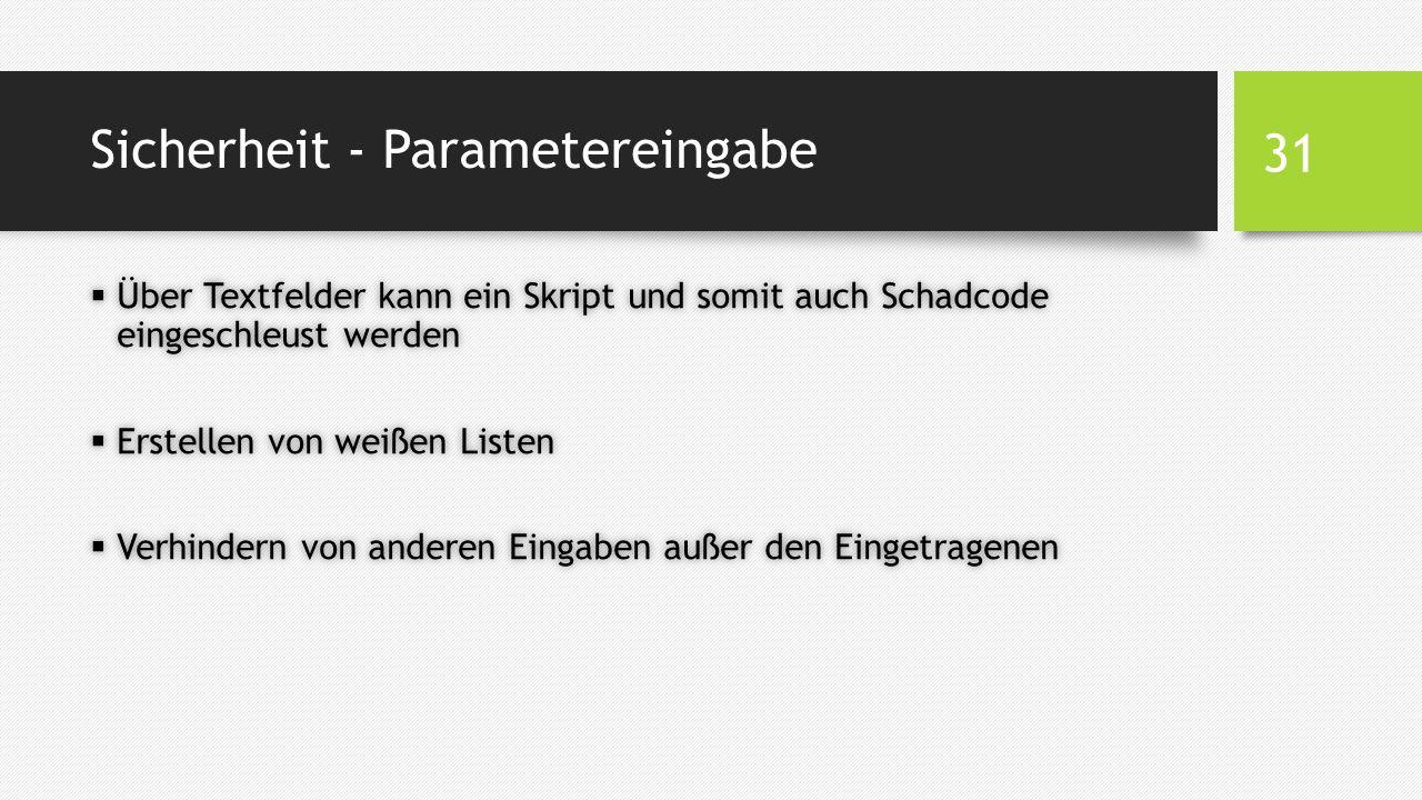 Sicherheit - Parametereingabe  Über Textfelder kann ein Skript und somit auch Schadcode eingeschleust werden  Erstellen von weißen Listen  Verhindern von anderen Eingaben außer den Eingetragenen 31