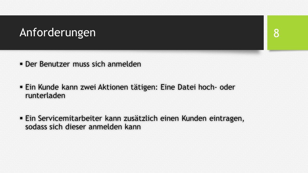 Anforderungen  Der Benutzer muss sich anmelden  Ein Kunde kann zwei Aktionen tätigen: Eine Datei hoch- oder runterladen  Ein Servicemitarbeiter kann zusätzlich einen Kunden eintragen, sodass sich dieser anmelden kann 8