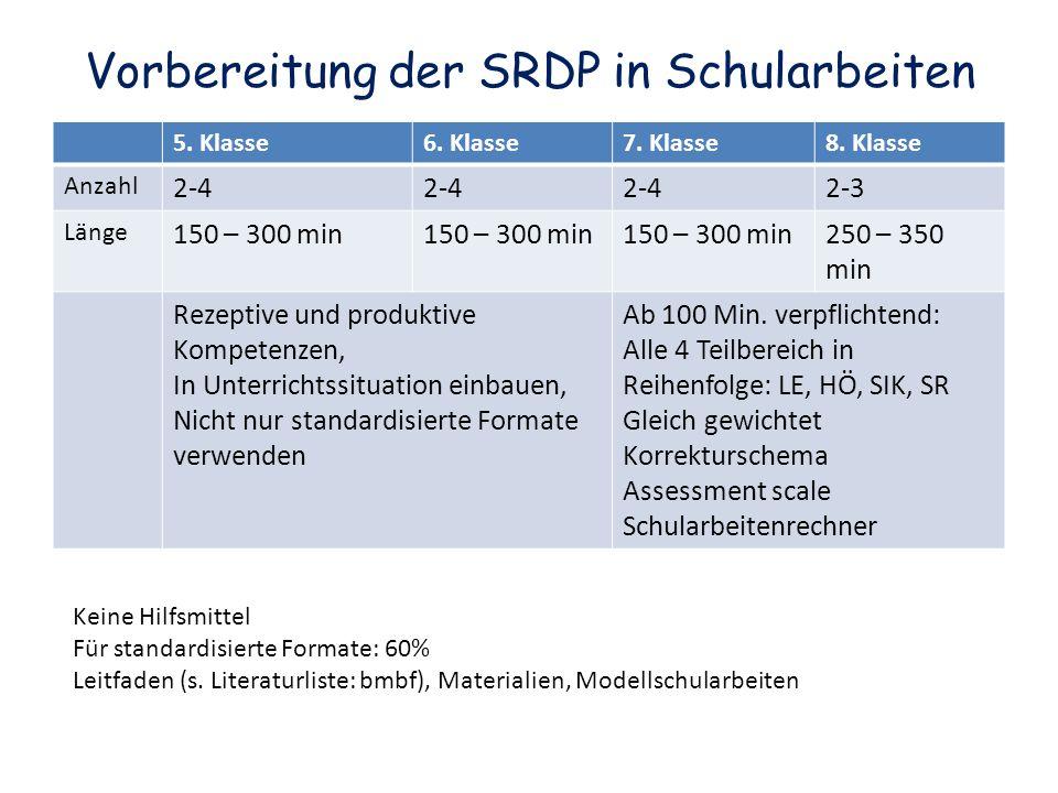 Vorbereitung der SRDP in Schularbeiten 5. Klasse6.