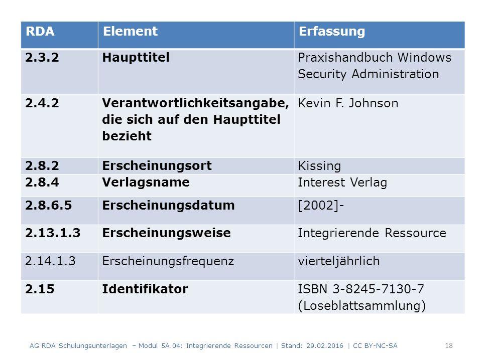 18 RDAElementErfassung 2.3.2Haupttitel Praxishandbuch Windows Security Administration 2.4.2 Verantwortlichkeitsangabe, die sich auf den Haupttitel bezieht Kevin F.
