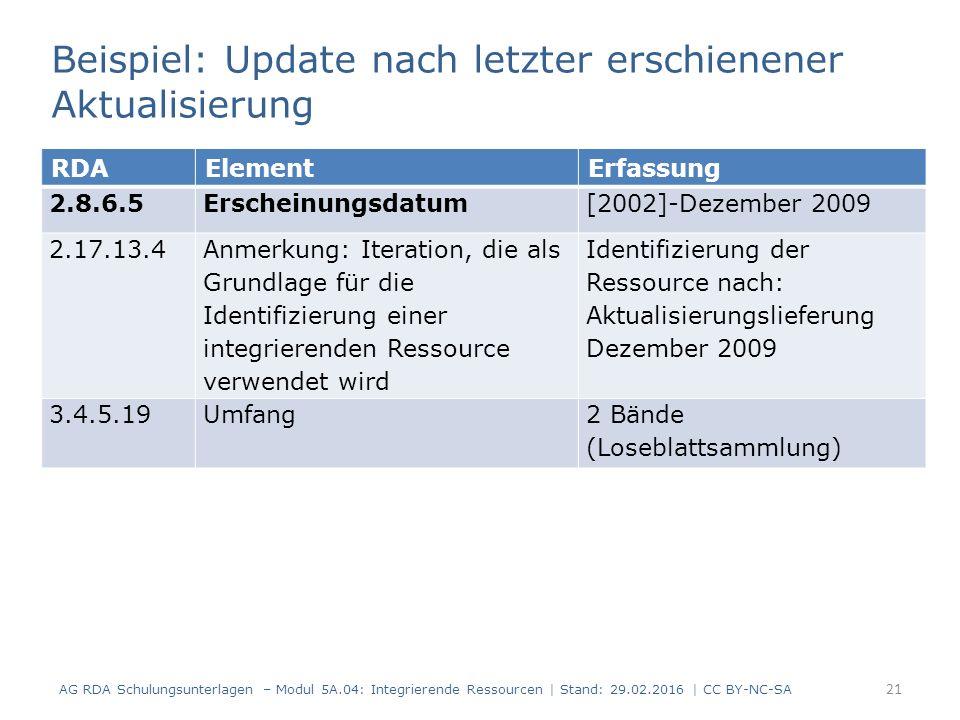 21 RDAElementErfassung 2.8.6.5Erscheinungsdatum[2002]-Dezember 2009 2.17.13.4 Anmerkung: Iteration, die als Grundlage für die Identifizierung einer integrierenden Ressource verwendet wird Identifizierung der Ressource nach: Aktualisierungslieferung Dezember 2009 3.4.5.19Umfang2 Bände (Loseblattsammlung) AG RDA Schulungsunterlagen – Modul 5A.04: Integrierende Ressourcen | Stand: 29.02.2016 | CC BY-NC-SA Beispiel: Update nach letzter erschienener Aktualisierung