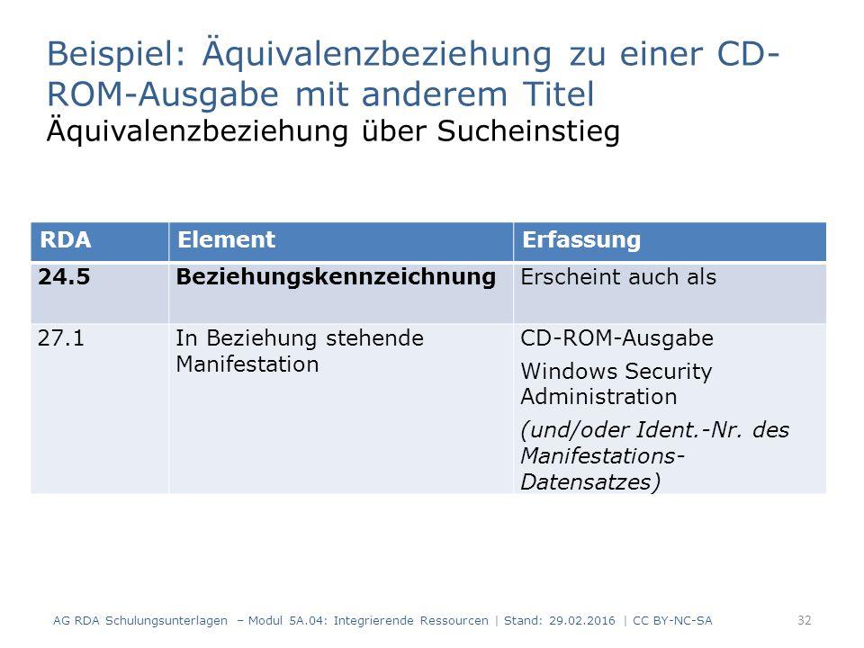 32 RDAElementErfassung 24.5BeziehungskennzeichnungErscheint auch als 27.1In Beziehung stehende Manifestation CD-ROM-Ausgabe Windows Security Administration (und/oder Ident.-Nr.