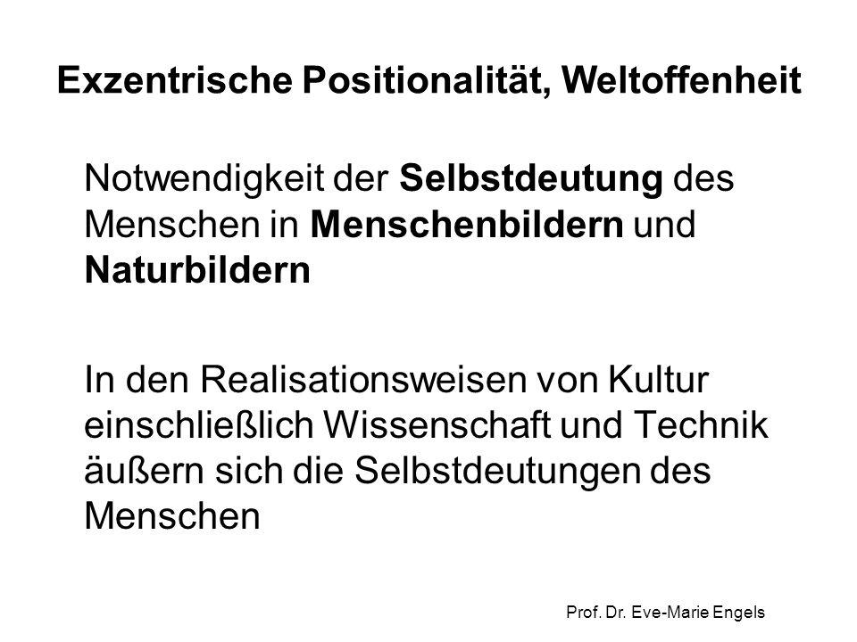 Prof. Dr. Eve-Marie Engels Exzentrische Positionalität, Weltoffenheit Notwendigkeit der Selbstdeutung des Menschen in Menschenbildern und Naturbildern
