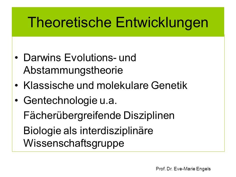 Prof. Dr. Eve-Marie Engels Theoretische Entwicklungen Darwins Evolutions- und Abstammungstheorie Klassische und molekulare Genetik Gentechnologie u.a.