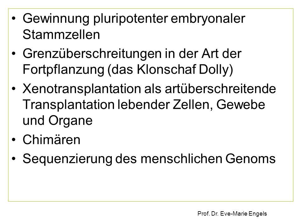 Prof. Dr. Eve-Marie Engels Gewinnung pluripotenter embryonaler Stammzellen Grenzüberschreitungen in der Art der Fortpflanzung (das Klonschaf Dolly) Xe