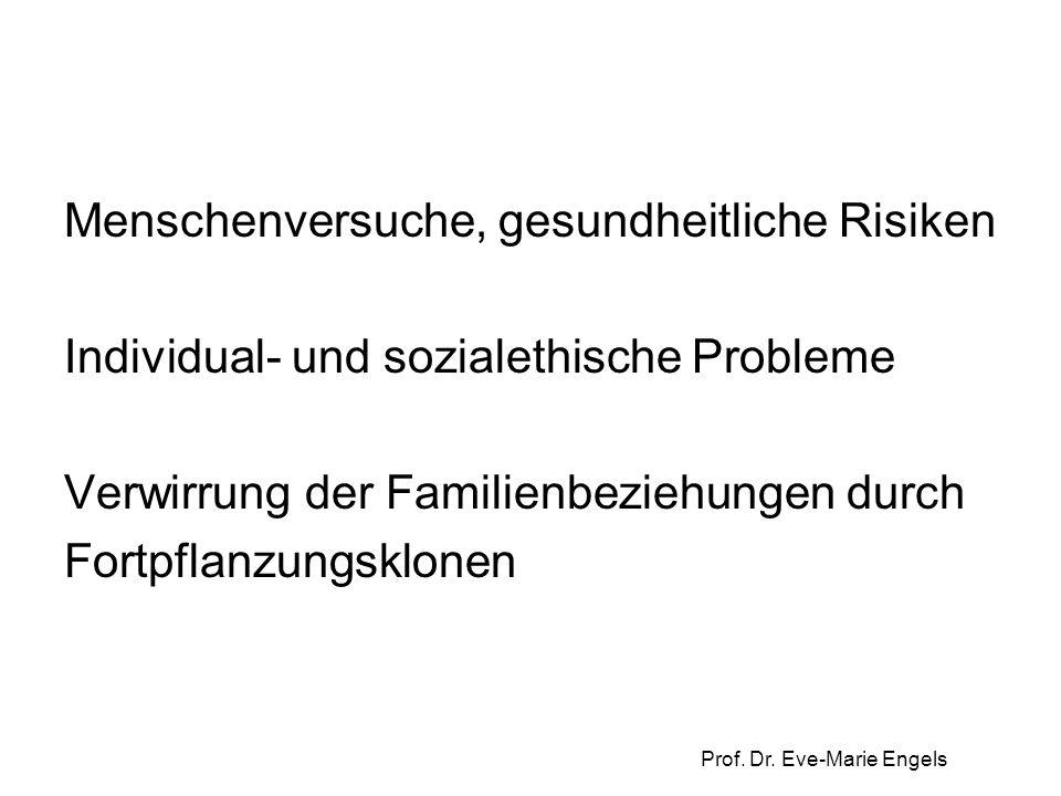 Menschenversuche, gesundheitliche Risiken Individual- und sozialethische Probleme Verwirrung der Familienbeziehungen durch Fortpflanzungsklonen