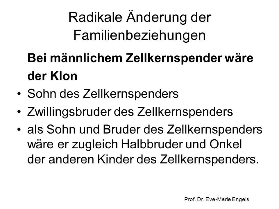 Prof. Dr. Eve-Marie Engels Radikale Änderung der Familienbeziehungen Bei männlichem Zellkernspender wäre der Klon Sohn des Zellkernspenders Zwillingsb