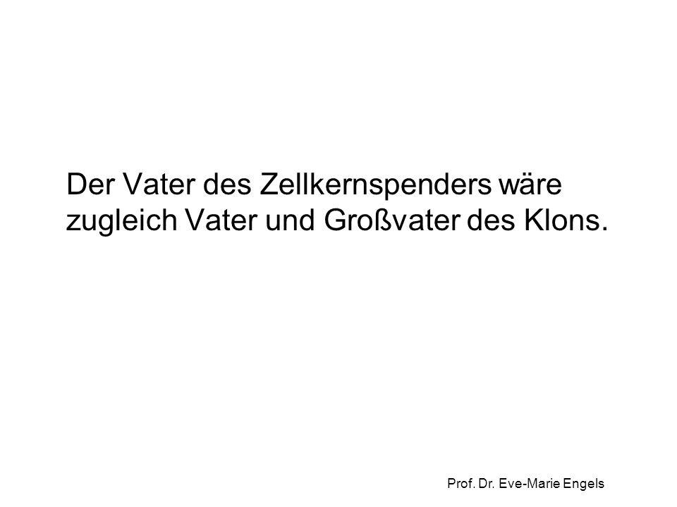 Prof. Dr. Eve-Marie Engels Der Vater des Zellkernspenders wäre zugleich Vater und Großvater des Klons.