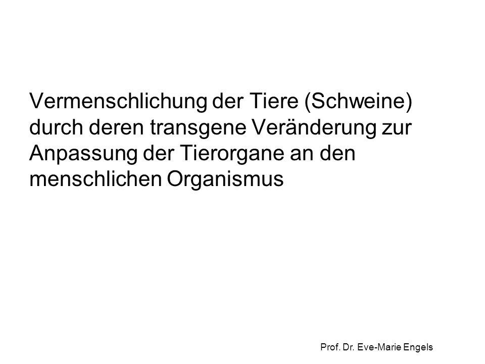 Prof. Dr. Eve-Marie Engels Vermenschlichung der Tiere (Schweine) durch deren transgene Veränderung zur Anpassung der Tierorgane an den menschlichen Or