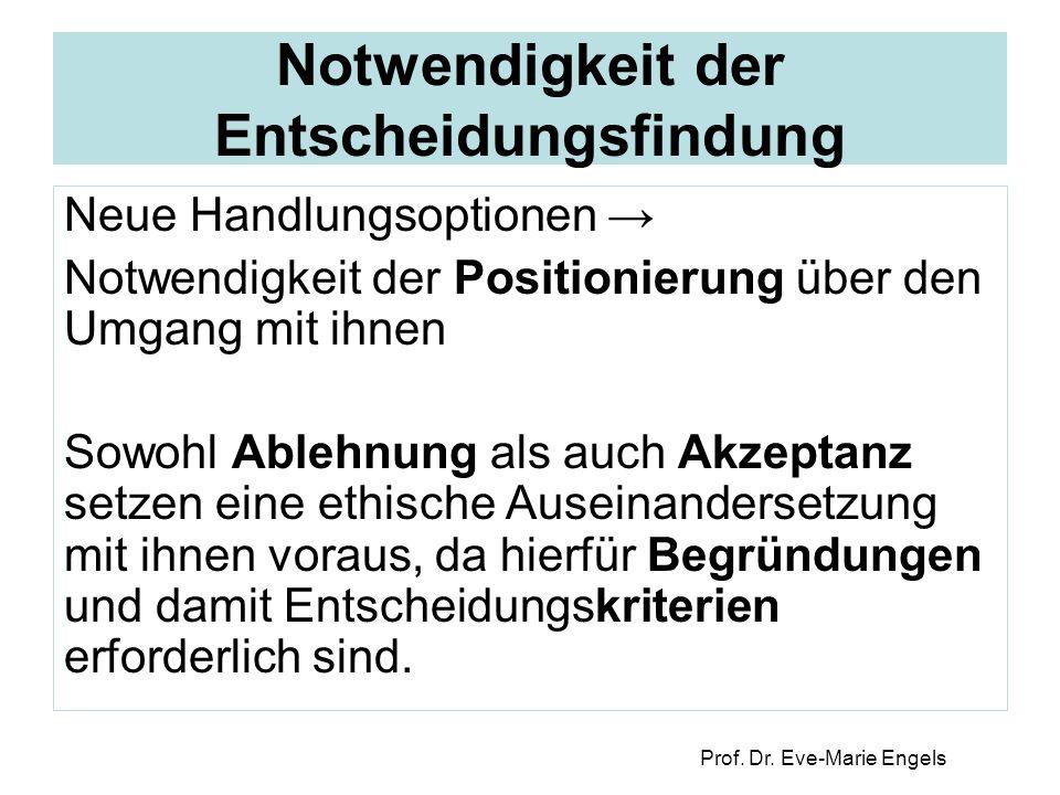 Prof. Dr. Eve-Marie Engels Notwendigkeit der Entscheidungsfindung Neue Handlungsoptionen → Notwendigkeit der Positionierung über den Umgang mit ihnen