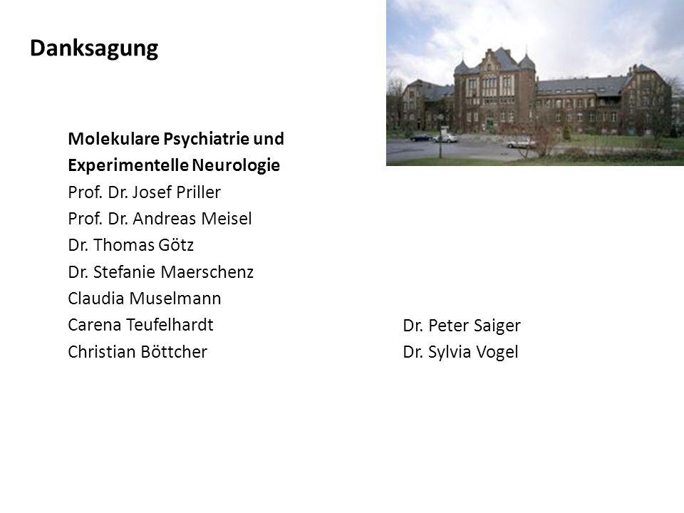 Danksagung Molekulare Psychiatrie und Experimentelle Neurologie Prof.