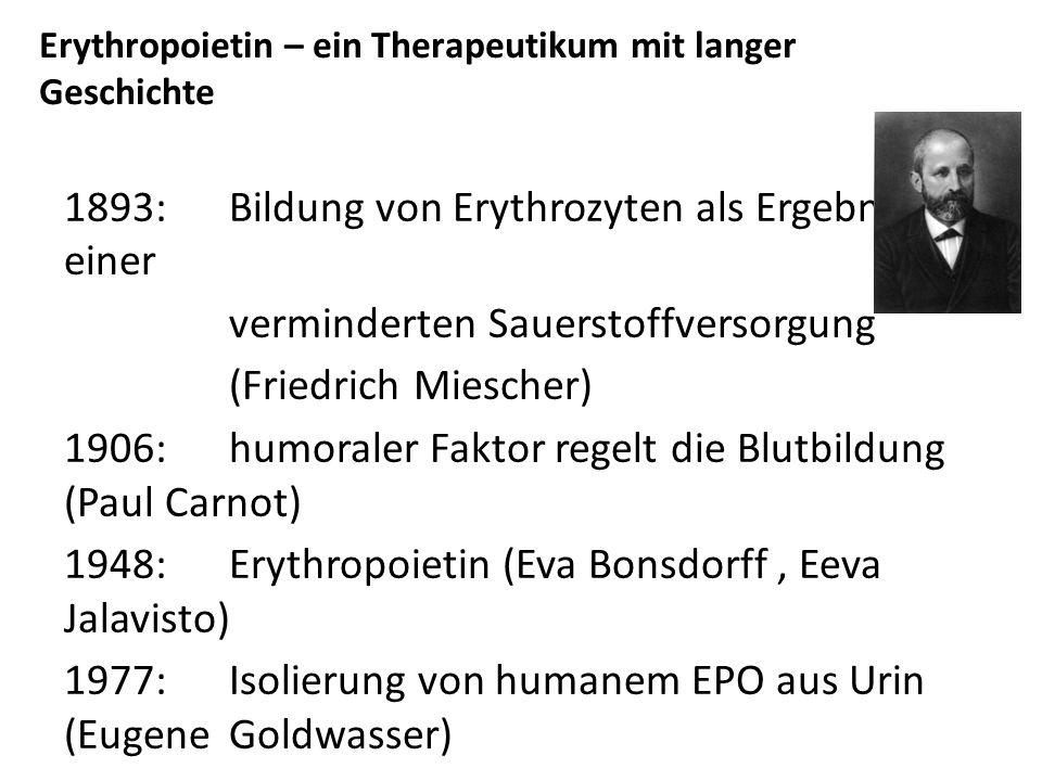 Erythropoietin – ein Therapeutikum mit langer Geschichte 1893: Bildung von Erythrozyten als Ergebnis einer verminderten Sauerstoffversorgung (Friedrich Miescher) 1906: humoraler Faktor regelt die Blutbildung (Paul Carnot) 1948: Erythropoietin (Eva Bonsdorff, Eeva Jalavisto) 1977: Isolierung von humanem EPO aus Urin (Eugene Goldwasser) 1983: Isolierung des humanen EPO Gens (Amgen) 1985:Expression von rhEPO in Säugetierzellen 1989: Zulassung von EPOGEN (Amgen) zur Therapie von Anämien 2001:Gentechnisch verändertes Erythropoetin, Darbepoetin α (Amgen) heute: gehört zu den 10 weltweit erfolgreichsten Therapeutika (EPO-Präparate der ersten und nächsten Generation, Biosimilars)