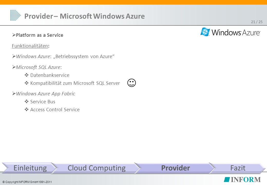 "© Copyright INFORM GmbH 1991-2011 / 25 Provider – Microsoft Windows Azure 21  Platform as a Service Funktionalitäten:  Windows Azure: ""Betriebssyste"