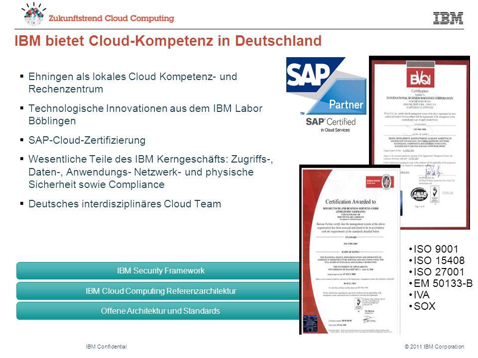 © 2011 IBM CorporationIBM Confidential IBM bietet Cloud-Kompetenz in Deutschland  Ehningen als lokales Cloud Kompetenz- und Rechenzentrum  Technologische Innovationen aus dem IBM Labor Böblingen  SAP-Cloud-Zertifizierung  Wesentliche Teile des IBM Kerngeschäfts: Zugriffs-, Daten-, Anwendungs- Netzwerk- und physische Sicherheit sowie Compliance  Deutsches interdisziplinäres Cloud Team ISO 9001 ISO 15408 ISO 27001 EM 50133-B IVA SOX IBM Security Framework IBM Cloud Computing Referenzarchitektur Offene Architektur und Standards