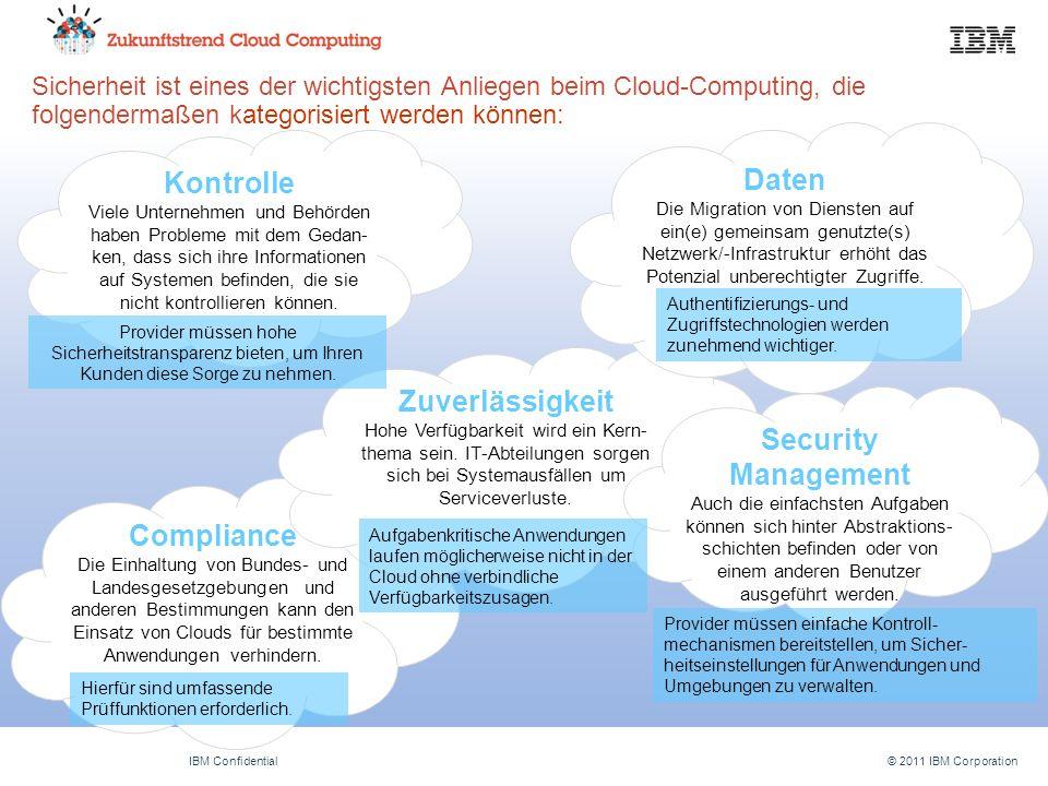 © 2011 IBM CorporationIBM Confidential Compliance Die Einhaltung von Bundes- und Landesgesetzgebungen und anderen Bestimmungen kann den Einsatz von Clouds für bestimmte Anwendungen verhindern.